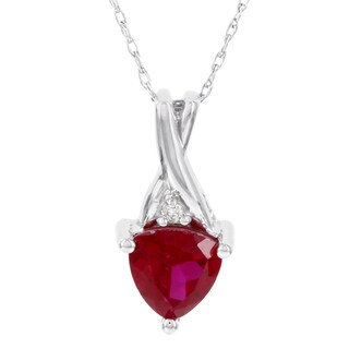 H Star 10k White Gold Trillion Ruby and Diamond Accent Pendant (I-J, I2-I3)