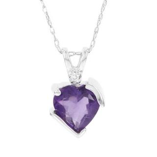 H Star 10k White Gold Amethyst and Diamond Accent Heart Pendant (I-J, I2-I3)