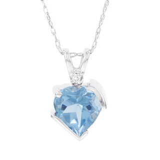 H Star 10k White Gold Blue Topaz Diamond Accent Heart-shaped Pendant (I-J, I2-I3)