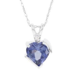 H Star 10k White Gold Created Ceylon Sapphire Diamond Accent Heart Pendant (I-J, I2-I3)