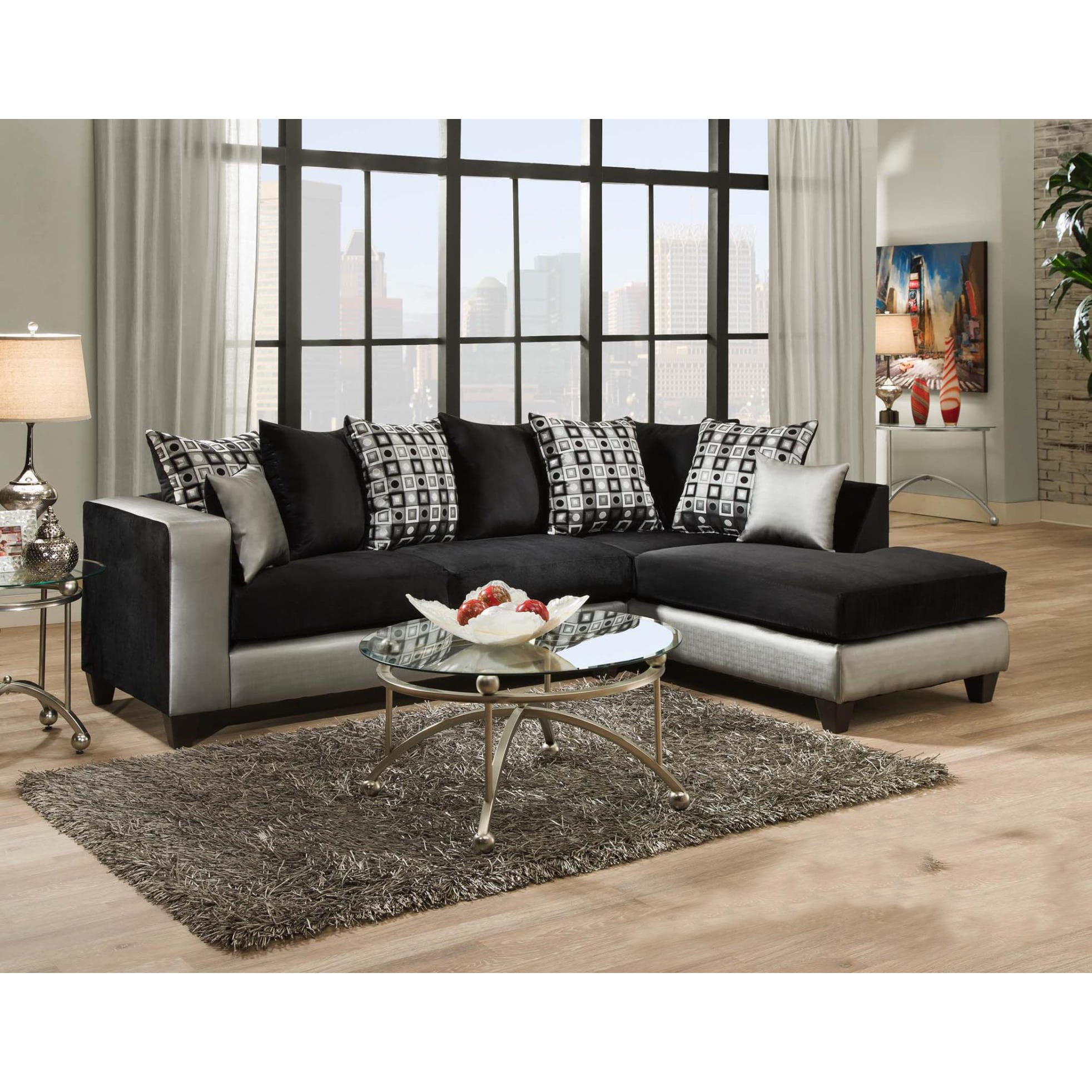 Sofa Trendz Darlene Two-Tone Black Fabric Sectional Sofa