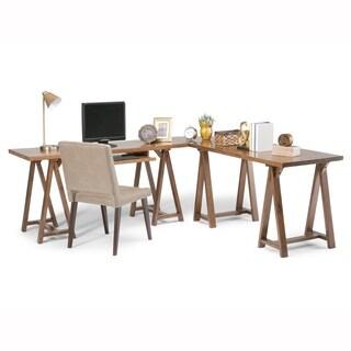 WyndenHall Hawkins Grey/Brown Wood L-shape Corner Desk