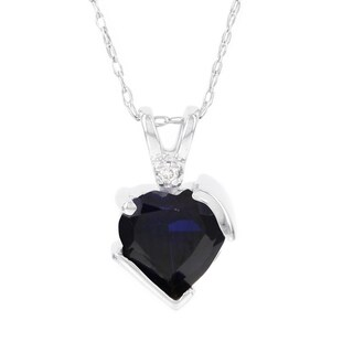 H Star 10k White Gold Created Sapphire and Diamond Accent Heart Pendant (I-J, I2-I3)