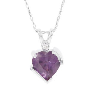 H Star 10k White Gold Simulated Alexandrite Diamond Accent Heart Pendant