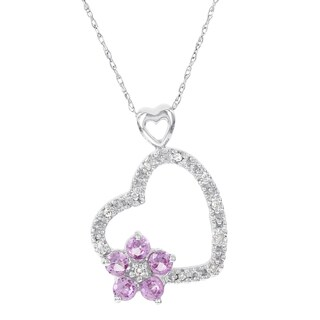 H Star 14k White Gold Created Pink Sapphire Diamond Accent Heart and Flower Pendant (I-J, I2-I3)