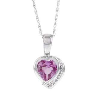H Star 10k White Gold, Created Pink Sapphire, and Diamond Accent Heart Pendant (H-I, I1-I2)