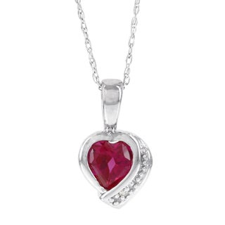 H Star 10k White Gold Created Ruby Diamond Accent Heart Pendant (H-I, I2-I3)