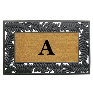 Olive Border Monogrammed Rubber Coir Mat (30 in. x 48 in.)