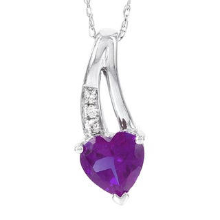 H Star 10k White Gold Amethyst and Diamond Accent Heart Pendant (H-I, I1-I2)