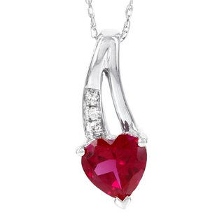 H Star 10k White Created Ruby Diamond Accent Heart Pendant (H-I, I1-I2)