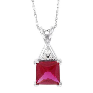 H Star Princess Cut Created Ruby Diamond Accent Pendant (H-I, I2-I3)