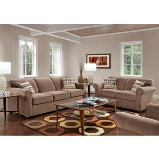 Sofa Trendz Brenda Chocolate Sofa and Loveseat Set
