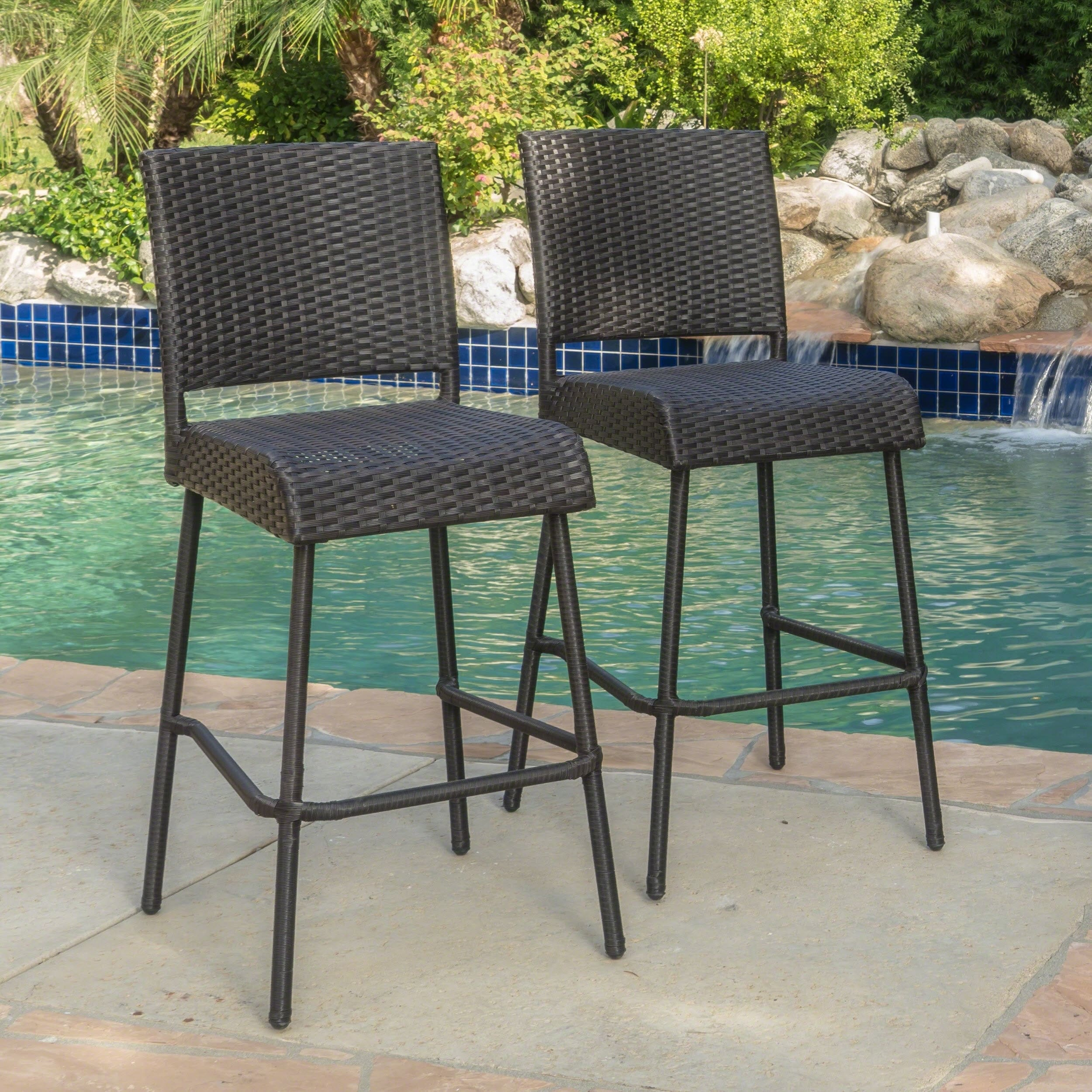 hot sale online e36ab ec36f Neal Outdoor Wicker Barstools by Christopher Knight Home