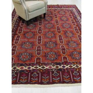 Hand-knotted Wool Red Traditional Oriental Turkman-Ankhoi Rug (7'6 x 9'5)