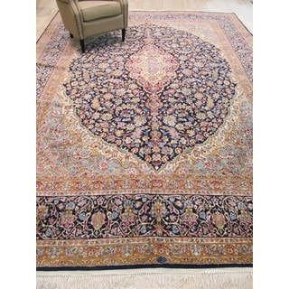 Hand-knotted Wool Navy Traditional Oriental Kerman Rug (10' x 13'4)