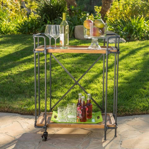 Eden Outdoor Antique Firwood Bar Cart by Christopher Knight Home