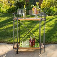 Eden Outdoor Antique Firwood and Iron Bar Cart by Christopher Knight Home