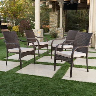 San Pico Outdoor Wicker Stacking Chairs (Set of 4) by Christopher Knight Home