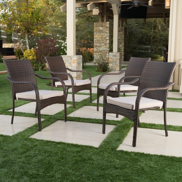 Marvelous San Pico Outdoor Wicker Stacking Chairs (Set Of 4) By Christopher Knight  Home
