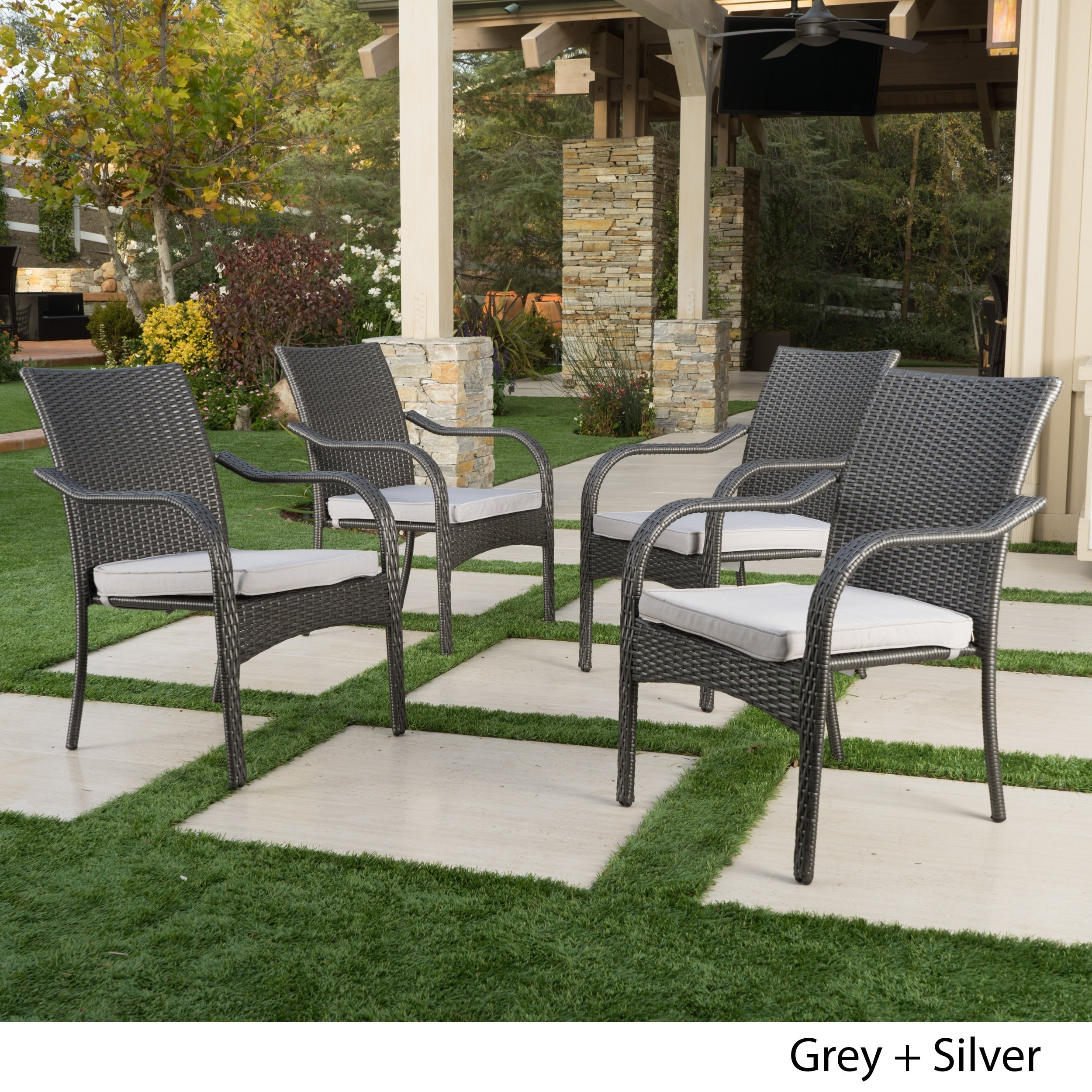 San Pico Outdoor Wicker Stacking Chairs (Set of 4) by Chr...