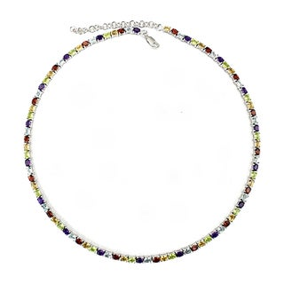 Sterling Silver Rainbow Multi-gemstone Necklace