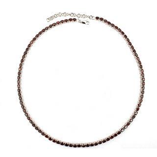 Sterling Silver Oval-cut Garnet Necklace