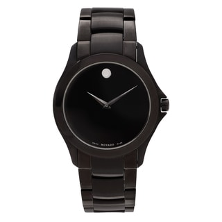 Movado Men's 'Masino' 606486 Ion Plated Black Dial Link Bracelet Watch