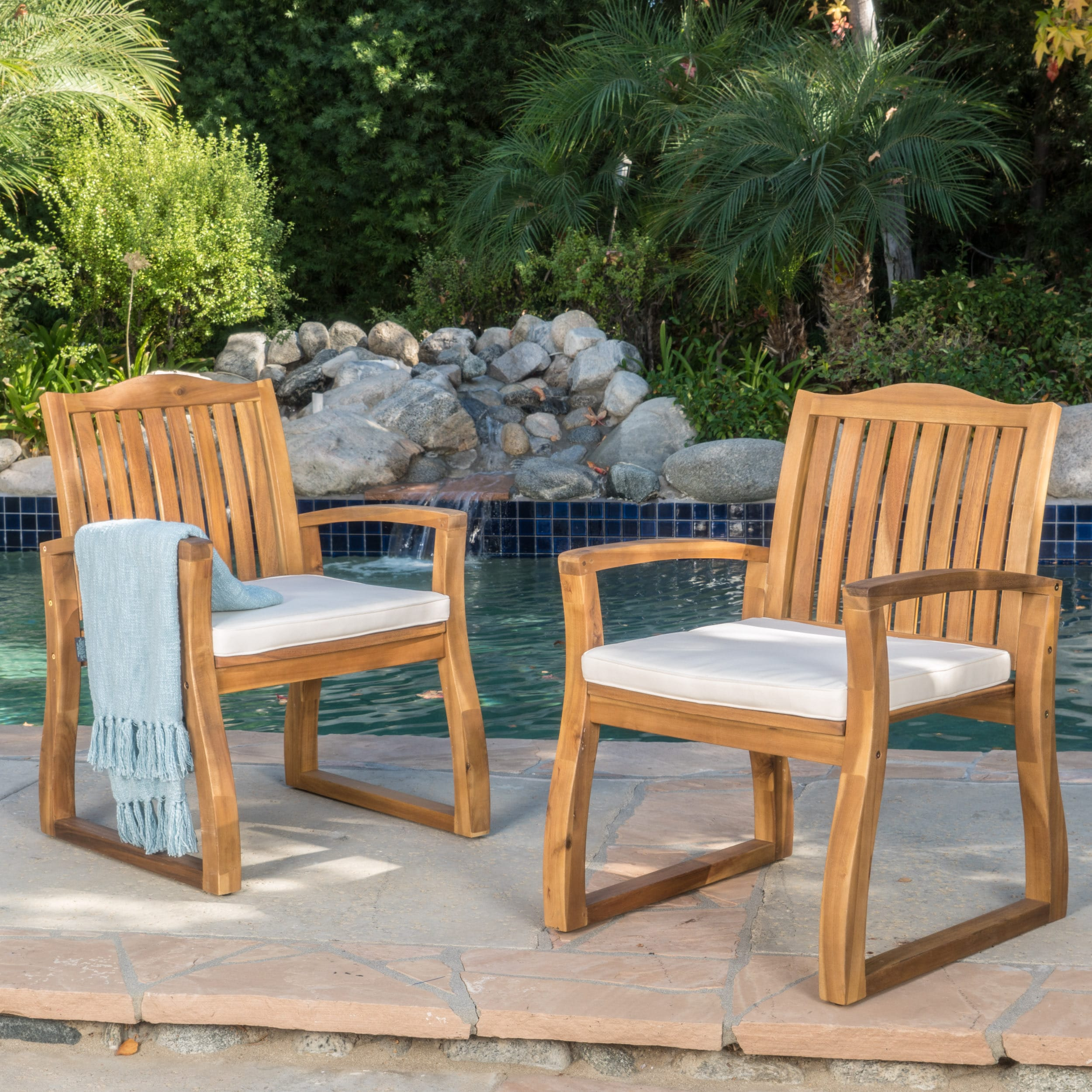 Awesome Details About Della Outdoor Acacia Wood Dining Chairs Set Of 2 By Brown Lamtechconsult Wood Chair Design Ideas Lamtechconsultcom