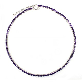 Sterling Silver Oval-cut Amethyst Necklace