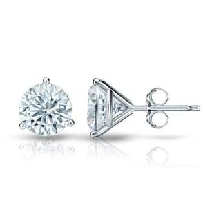 Auriya GIA Certified 14k White Gold 3-Prong Martini 1.70 ct. TDW (I-J, VVS1-VVS2) Push Back Round Diamond Stud Earrings