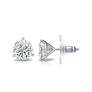 Auriya GIA Certified 14k White Gold 3-Prong Martini 1.50 ct. TDW (I-J, VVS1-VVS2) Secure Lock Back Round Diamond Stud Earrings