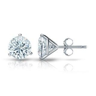 Auriya GIA Certified 14k White Gold 3-Prong Martini 1.50 ct. TDW (I-J, VVS1-VVS2) Push Back Round Diamond Stud Earrings