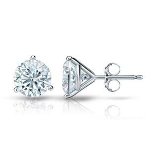 Auriya GIA Certified 14k White Gold 3-Prong Martini 1.20 ct. TDW (I-J, VVS1-VVS2) Push Back Round Diamond Stud Earrings