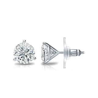 Auriya GIA Certified 14k White Gold 3-Prong Martini 1.00 ct. TDW (I-J, VVS1-VVS2) Secure Lock Back Round Diamond Stud Earrings