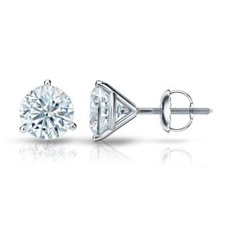 Auriya GIA Certified 14k White Gold 3-Prong Martini 1.00 ct. TDW (I-J, VVS1-VVS2) Screw Back Round Diamond Stud Earrings