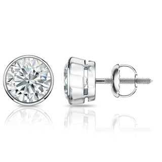 Auriya GIA Certified 18k White Gold Bezel Setting 3.20 ct. TDW (K-L, VVS1-VVS2) Screw Back Round Diamond Stud Earrings
