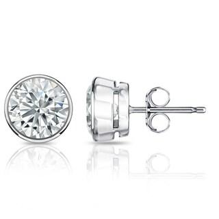 Auriya GIA Certified 18k White Gold Bezel Setting 3.20 ct. TDW (K-L, VVS1-VVS2) Push Back Round Diamond Stud Earrings