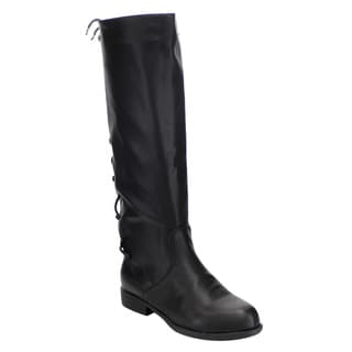 Bamboo Women's Black Faux Leather Under-knee-high Corset Lace-up Side-zipper Riding Boots