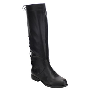 Bamboo Women's Faux Leather Under-knee Corset Lace-up Side-zipper Riding Boots
