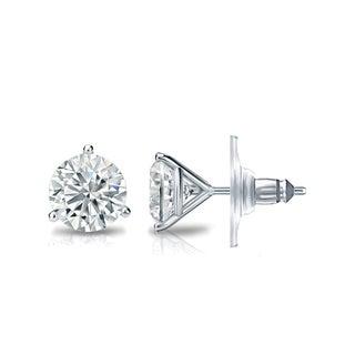 Auriya GIA Certified 14k White Gold 3-Prong Martini 3.20 ct. TDW (I-J, VVS1-VVS2) Secure Lock Back Round Diamond Stud Earrings