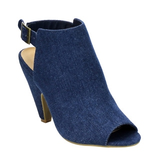 Bamboo Women's Black/Blue Fabric/Faux Suede Buckle Strap Cut-out Conical Heel Ankle Booties