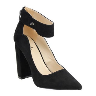 Qupid Women's Black Faux Suede Ankle-wrap High Chunky Block-heel Dress Pumps