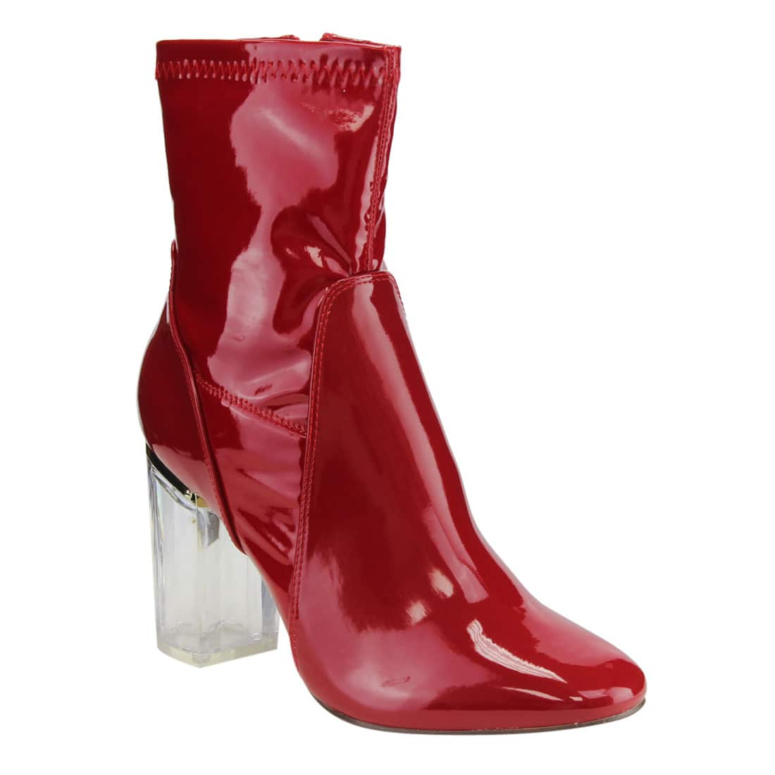 X2B FG00 Women's Ankle-high Side-zip Clear Lucite Heel Dress Booties