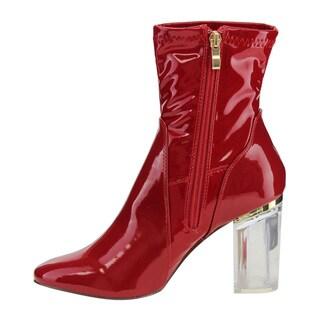 X2B FG00 Women's Ankle-high Side-zip Clear Lucite Heel Dress Booties
