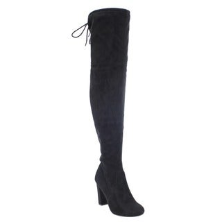 Delicious Women's IB87 Faux Suede Drawstring Stretchy Wrapped Block Heel Over-the-knee Boots