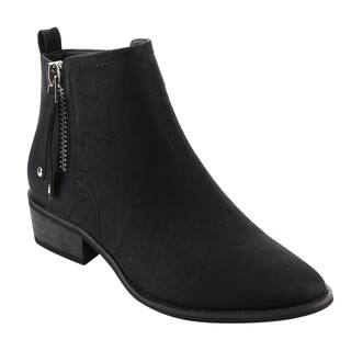 Reneeze IC13 Women's Faux Leather Chunky-heel Side-zipper Pull-tab Ankle Booties|https://ak1.ostkcdn.com/images/products/13651203/P20319192.jpg?impolicy=medium