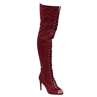 Anne Michelle EF08 Women's Red Faux Suede Thigh-high Lace-up High Stiletto Heel Boots