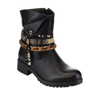 Via Pinky Women's EF29 Black Faux-leather Tassel Ankle Strappy Lug Sole Chunky Ankle Bootie