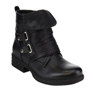 Via Pinky EF28 Women's Faux Leather Slitted Fold-down Side-zipper Chunky Ankle Bootie