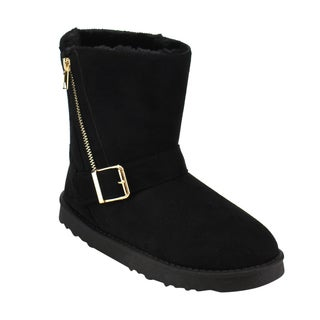 Via Pinky Women's Black Faux Suede Buckled Side Zipper Slip-on Snow Ankle Booties